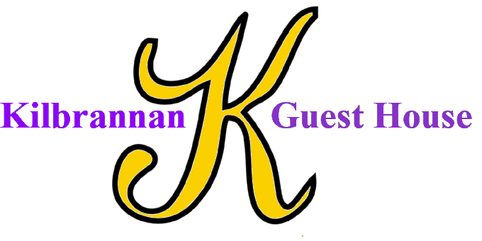 logo of the kilbrannan guest house, this is a large yellow K and the words kilbrannan guest house in purple
